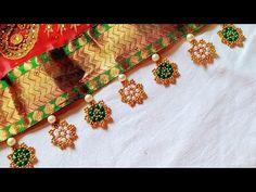 Saree Kuchu New Designs, Saree Tassels Designs, Dress Neck Designs, Blouse Designs, Angel Crochet Pattern Free, Crochet Flower Tutorial, Crochet Patterns, Crochet Videos, Bead Crochet