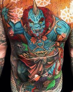 Fujin by @jessyentattoo at My Tattoo in  Alhambra California. #fujin #japanesetattoo #jessyentattoo #mytattoo #alhambra #california #tattoo #tattoos #tattoosnob
