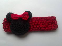 Minnie Mouse Crocheted headband Mickey Mouse for New born, Baby girl Headband Photography Prop Baby Girl Crochet, Love Crochet, Crochet For Kids, Knit Crochet, Crochet Crafts, Yarn Crafts, Crochet Projects, Crochet Hair Accessories, Crochet Hair Styles
