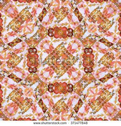 Digital collage technique modern refined ornate decorative abstract motif seamless pattern mosaic design in mixed warm colors and white background