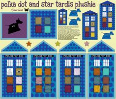 can't wait to sew this up! polka dot and star tardis plushie fabric by scrummy on Spoonflower - custom fabric