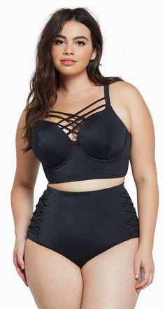 Plus Size Strappy Push-Up Balconette Bikini Swimsuit
