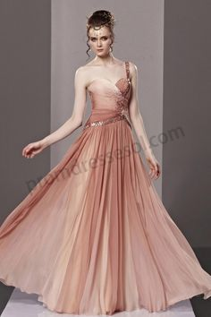 Picture Color One-shoulder Chiffon Long Evening Party Dress BY223