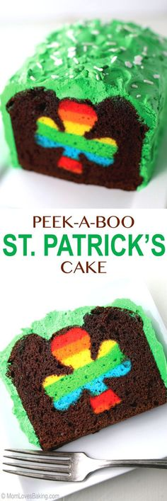 Chocolate loaf cake with green buttercream frosting and rainbow shamrock in the middle recipe. Perfect for St. Patrick's Day! via Mom Loves Baking