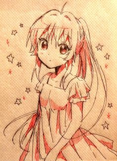 ✮ ANIME ART ✮ anime girl on a napkin. . .long hair. . .ponytail. . .stars. . .doodle. . .drawing. . .pen. . .ink. . .moe. . .cute. . .kawaii