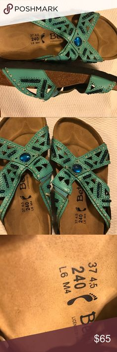 Betula by Birkenstock sz L6/M4 teal Betula size 37 or ladies 6 or mans 4.  They are in a pretty teal color. There's one big stone in the middle and then there are beads in the teal leather betula by birkenstock Shoes Sandals