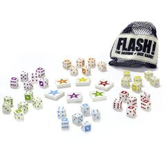 Flash! and thousands more of the very best toys at Fat Brain Toys. Pick one of the 8 challenges from the game sheet and get excited. The game of lightening speed is about to begin. Take a breath and everyone counts to three... and the dice start rolling. Set your concentration, feel the pull of victory, and get busy rolling!