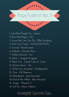 Hungry Gator Gal: Yoga Workout Playlist No. 30 songs on Spotify! (this image is part Hungry Gator Gal: Yoga Workout Playlist No. 30 songs on Spotify! (this image is part Yoga Nidra, Bikram Yoga, My Yoga, Yoga Sequences, Yoga Flow, Yoga Meditation, Yoga Inspiration, Yoga Playlist, Spotify Playlist