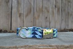 Blue and Green Geometric Dog Collar with Aluminum Side Release Buckle.  This…
