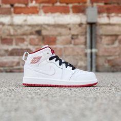 Jordan Little Kids Air Jordan 1 Mid (white / black / gym red) Cute Nike Shoes, Cute Nikes, Original Air Jordans, Nike Wear, Jordan Shoes For Sale, Jordan 1 Mid, Air Max Sneakers, Sneakers Women, Nike Air Jordans