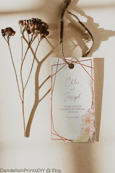 Introducing LARA – a rose gold bohemian wedding collection in soft blush and sand colours with gorgeous orchid and pampas grass details and a romantic calligraphy font.#thankyoutags #weddingthankyou #weddingtags #weddingfavors Wedding Tags, Wedding Thank You, Boho Wedding, Wedding Favors, Wedding Invitations, Pocket Invitation, Invitation Kits, Diy Wedding Templates, Stationery Templates