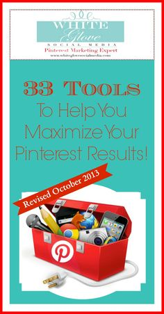 #PinterestCoach shares 33 Pinterest tools to help you schedule, analyze, create promotions, enhance your images, and so much more! Did you know that pinners are getting paid to pin? CLICK here for more info http://www.whiteglovesocialmedia.com/33-tools-to-help-you-maximize-your-pinterest-results/ ✭Pinterest Marketing Expert✭