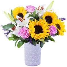 Fresh and fragrant: Sunflowers, roses and lilies