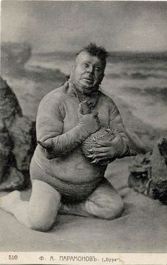 Scene from The Tempest, Fyodor Paramonov as Caliban (Maly Theatre, Moscow, 1905)