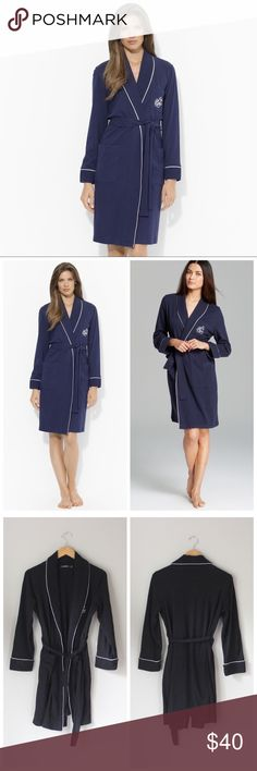 Quilted Monogrammed Collar Robe in Windsor Navy Classic navy and white robe from Ralph Lauren. New without tags. Lauren Ralph Lauren Intimates & Sleepwear Robes