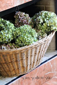 Love the dried hydrangeas in a basket inside a  fireplace in the summer. StoneGable: ADDING TEXTURE TO YOUR DECOR~ GUEST POST