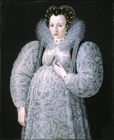 Portrait of an Unknown Lady [seemingly pregnant] (c.1595) by Marcus Gheeraerts the Younger (c. 1561/62–1636), Flemish, worked in the Tudor court. He became a fashionable portraitist in the last decade of the reign of Elizabeth I. He introduced a new aesthetic in English court painting that captured the essence of a sitter through close observation. (wiki) -  (lilacs in the door yard)
