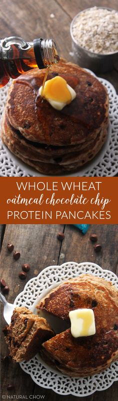 Whole Wheat Oatmeal Chocolate Chip Protein Pancakes | Natural Chow