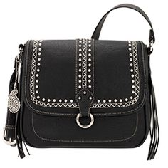 Bandana by American West Missoula Black Crossbody Flap Bag Faux Leather Silver Fringe Handbags, Purses And Handbags, Black Crossbody, Crossbody Bag, American West Handbags, Western Purses, Black Cross Body Bag, Fashion Handbags, Leather Purses