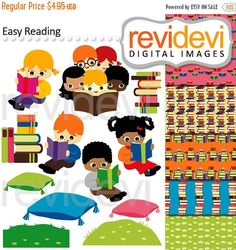 80% OFF SALE Kids reading clipart / library books / Easy Reading 07480.. Cliparts and Digital Papers