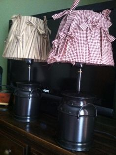 Painted lamps and rag wrapped lamp shades.