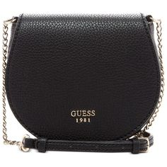 Guess Cate Mini Saddle Bag (€53) ❤ liked on Polyvore featuring bags, handbags, shoulder bags, black, mini shoulder bag, saddle bags, miniature purse, guess handbags and guess shoulder bag