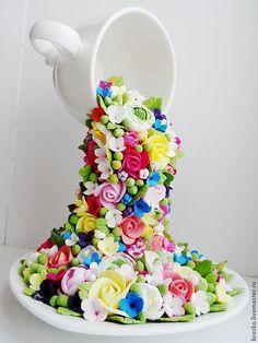 Flower Crafts, Diy Flowers, Floating Tea Cup, Alice In Wonderland Party, Diy Origami, Make Arrangements, Applique Patterns, Topiary, Flower Making