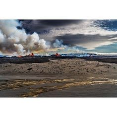 Lava and plumes from the Holuhraun Fissure by the Bardarbunga Volcano Iceland Canvas Art - Panoramic Images (27 x 9)