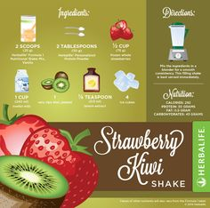 Ingredients: 2 Scoops g) Herbalife Formula 1 Nutritional Shake Mix, Vanilla 2 Tablespoons g) Herbalife Personalized Protein Powder ½ Cup g) frozen whole strawberries 1 Cup ml) Nonfat milk 1 very ripe kiwi, peeled Teaspoon ml lemon Formula 1 Herbalife, Herbalife Meal Plan, Herbalife Nutrition, Herbalife 24, Nutrition Club, Nutrition Shakes, Healthy Shakes, Nutrition Classes, Protein Shakes