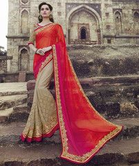 Red & Pink Color Georgette Party Wear Sarees : Swabhimaan Collection  YF-40031