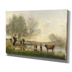 'Cows in Landscape' by Jean Baptiste Camille Corot Painting Print on Wrapped Canvas