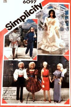 Barbie Doll Clothes Vintage  Sewing Pattern  Simplicity  6097     Sew new Barbie outfits from this  Vintage Collectible pattern !  There are 7 outfits to make in this collectible Simplicity pattern from 1983.   This pattern is new in mint condition uncut and factory folded.