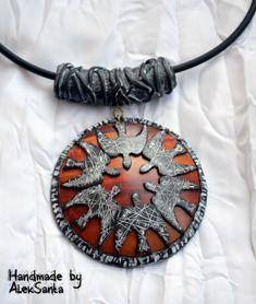 """Polymer clay pendant - """"Dawn"""", by Alek Santa."""