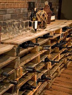 Design ideas for your home with pallets. Design ideas for your home with pallets. Wine cellar-pallet-shelf for wine … DIY. Design ideas for your home with pallets. Wine cellar-pallet-shelf for wine bottles. Vin Palette, Spiral Wine Cellar, Wine Cellar Basement, Wine Cellar Racks, Home Wine Cellars, Wine Cellar Design, Wine Design, Wooden Pallet Projects, Wood Pallets