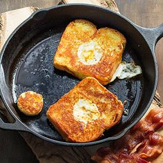 Eggs in Jail Cut the centers from thick slices of brioche bread, then toast the bread in a skillet and cook eggs in the jail.