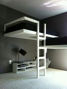 Two lofted beds for the kids room provides lots of extra room.