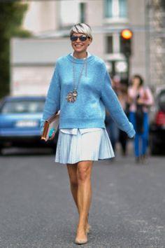 Street looks fashion week Paris : turquoise délicat