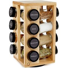 Martha Stewart Collection 17-Pc. Revolving Spice Rack found on Polyvore featuring home, kitchen & dining, food storage containers, kitchen, spice carousel, martha stewart and spice rack