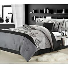 @Overstock.com - Renaisance Grey 8-piece Comforter Set  - This black, white and gray eight-piece comforter set features embroidered classic damask pattern accents, and all the pieces in the set are coordinated, so you don't have to search for complementary items. This complete set is machine washable.   http://www.overstock.com/Bedding-Bath/Renaisance-Grey-8-piece-Comforter-Set/6804018/product.html?CID=214117 $85.49