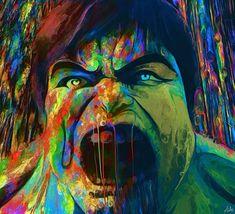 Pinturas em efeito de delírio psicodélico por Nicky Barkla -Hulk