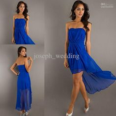 Fashion Summer Wear Royal Blue Strapless High Low Chiffon Prom Dress Cheap ZPD-248 from Joseph_wedding,$65.97 | DHgate.com