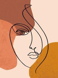 Abstract Shapes-Face Line Art Acrylic Box