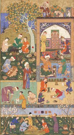 Folio from an album; A School Scene  circa 1540    Mir Sayyid Ali   Safavid period
