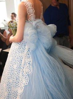 I've got the baby blues: oscar de la renta Blue Wedding Dresses, Wedding Gowns, Flower Girl Dresses, Bridal Style, Wedding Bride, Lace Wedding, Just In Case, Bridal Gowns, Beautiful Dresses