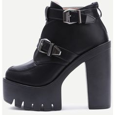 Black Buckle Strap Platform PU Heeled Ankle Boots ($46) ❤ liked on Polyvore featuring shoes, boots, ankle booties, heels, platform heel bootie, heeled ankle booties, platform heel boots, mid heel boots and ankle boots