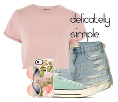 """""""delicately simple"""" by wippersh ❤ liked on Polyvore featuring beauty, Hollister Co., Topshop, Converse, Casetify and ZeroUV"""