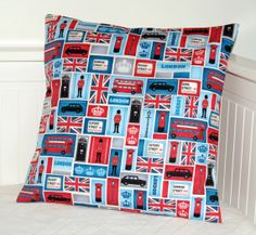London cushion cover, UK bus, taxi, union jack, crown, Downing street  18 inch pillow cover