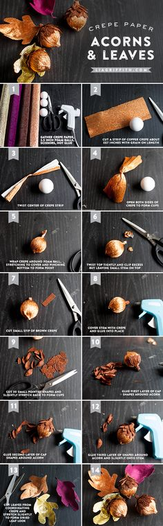 DIY Tutorial: Crepe Paper Acorns for Fall Decorations with Free Downloadable Printable Templates | liagriffith.com