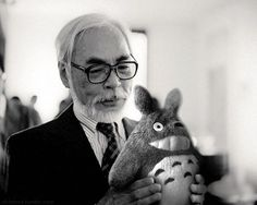This is amazing.  Miyazaki with one of his brainchildren, totoro.