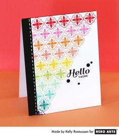 Build Your Own Backgrounds - The Hero Club Blog...3 beautiful one layer cards using small stamps and bright ink by Kelly Rasmussen